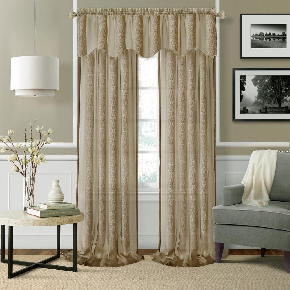 Elrene Enza Taupe Semi Sheer Window Valance - 56 in. W