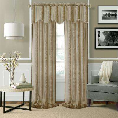 Elrene Enza Taupe Semi Sheer Window Valance - 56 in. W x 15 in. L