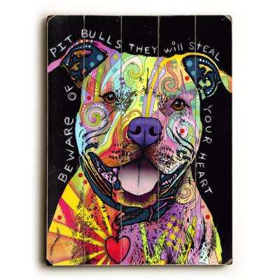 """30 in. x 30 in. """"Beware of Pit Bulls by Dean Russo """"Planked Wood"""" Wall Art"""