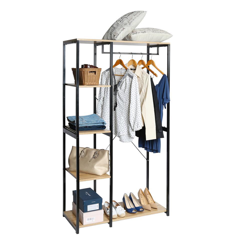 35.24 in W x 16 in D x 65.75 in H, 5-Tier Freestanding Garment Rack Closet Organizer