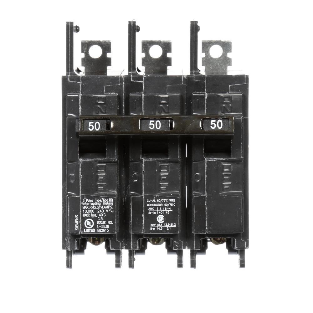 50 Amp 3-Pole BQ 10 kA Lug-In/Lug-Out Circuit Breaker