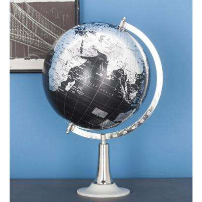 20 in. x 13 in. Modern Decorative Globe in Black and Silver