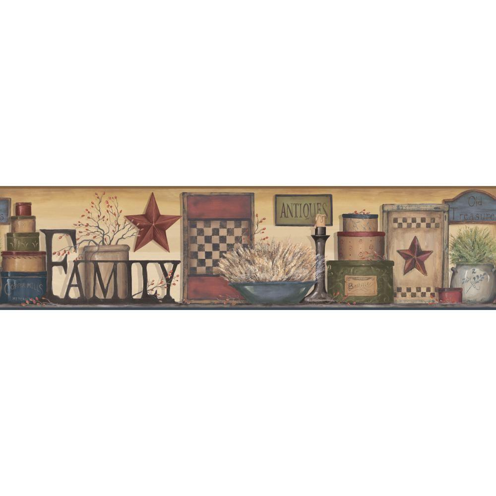 Country Kitchen Wallpaper Borders: York Wallcoverings Country Keepsakes Family Shelf