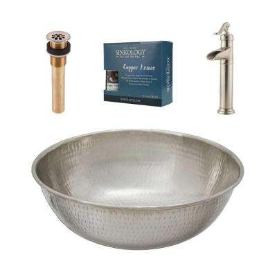 Pfister All-In-One Bohr Design Kit Nickel Vessel Sink with Brushed Nickel Single Hole Vessel Faucet