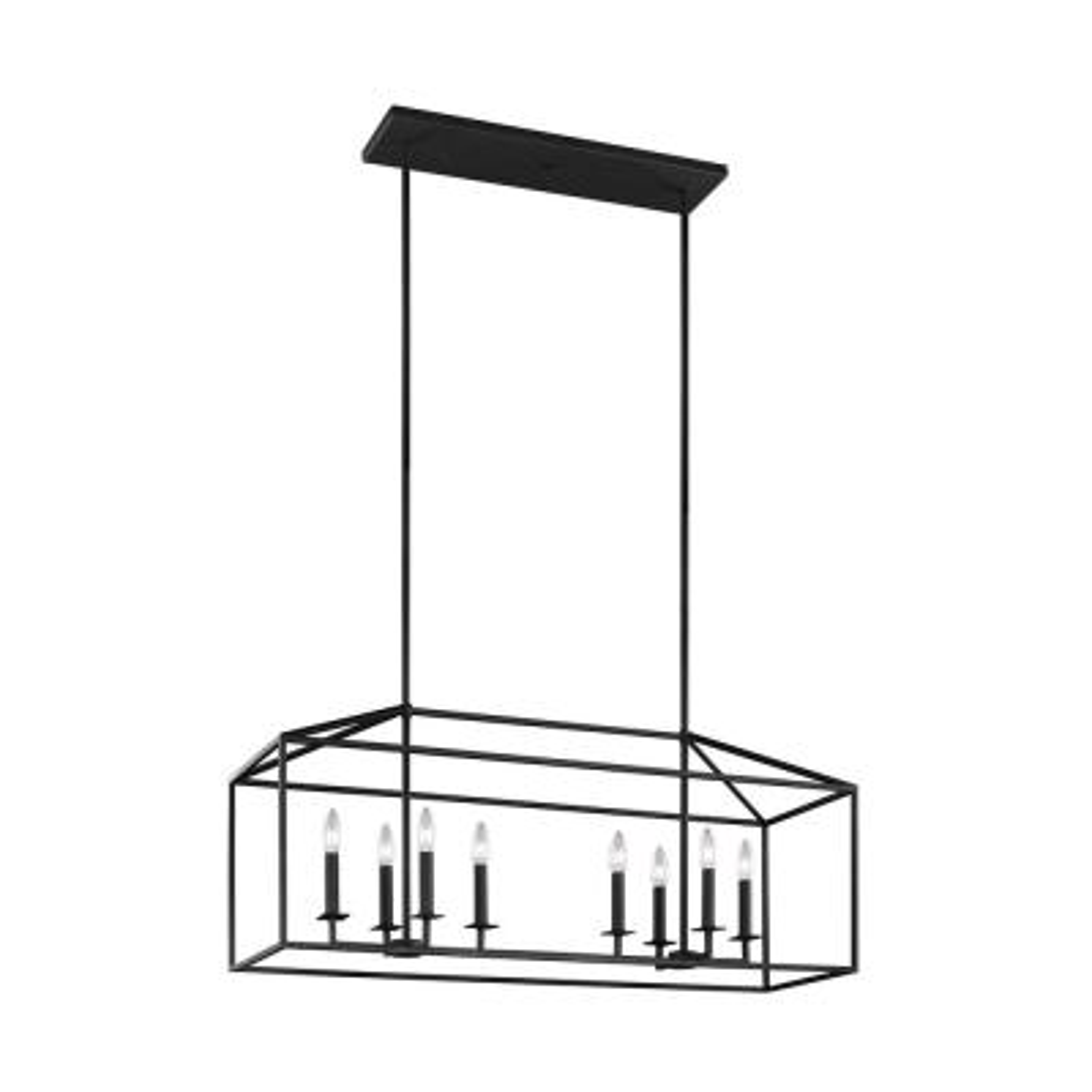 Perryton 8-Light Textured Blacksmith Lantern Pendant with Dimmable Candelabra LED Bulb