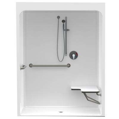 Accessible Acrylic 60 in. x 34 in. x 79 in. 1-Piece ADA Shower Stall w/ Right Seat in White