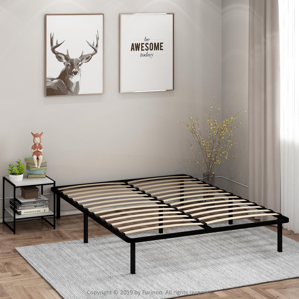 Angeland Cannet Full Wood Slats Metal Bed Frame