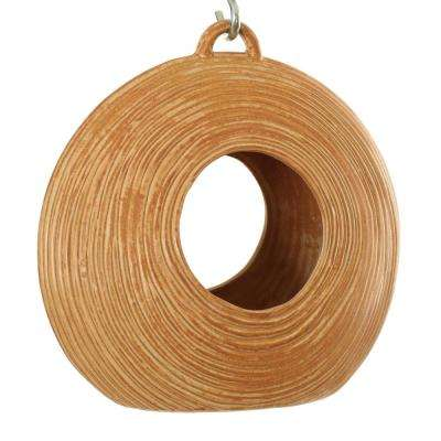 10 in. Brown Ceramic Circle Circle Fly Through Feeder