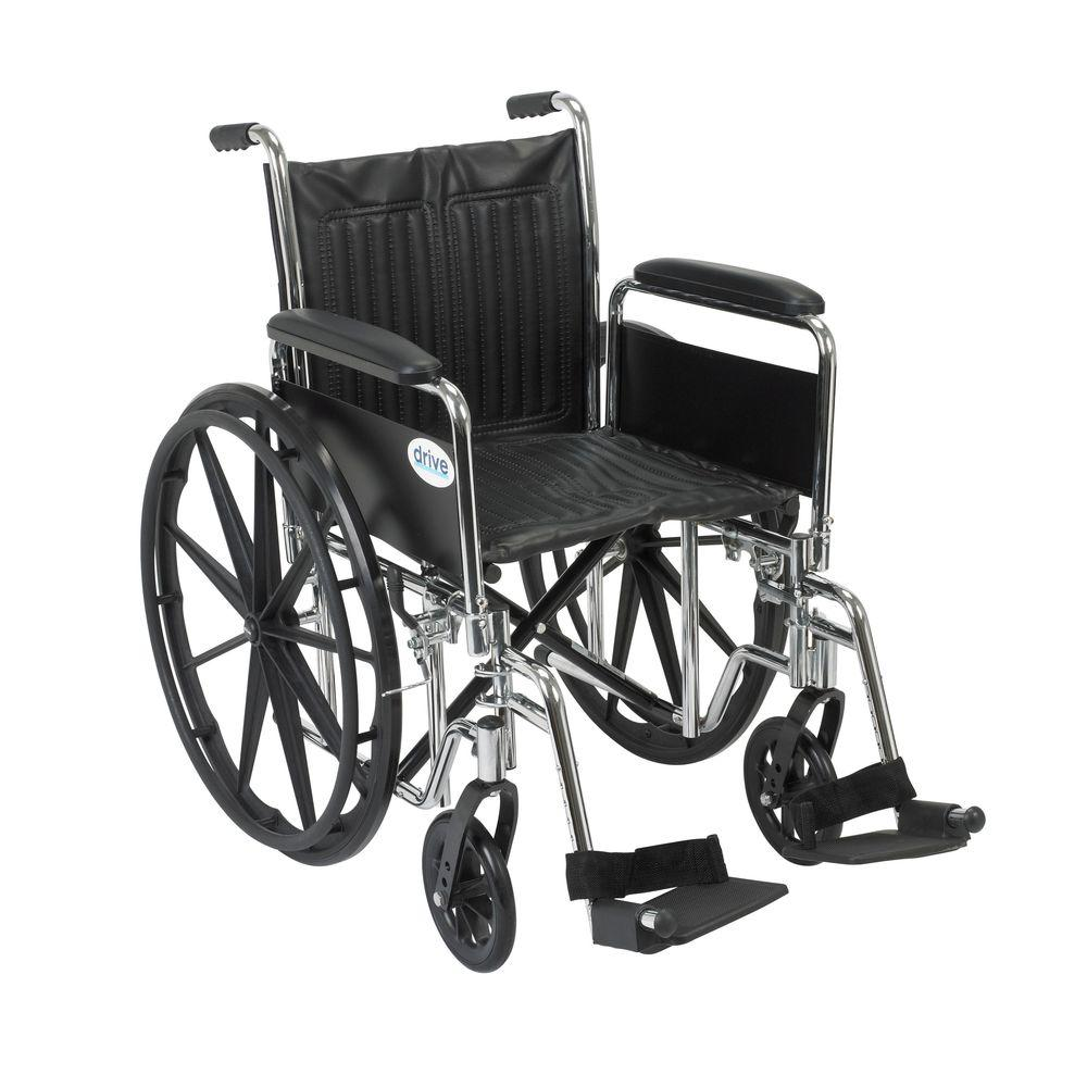 Drive Chrome Sport Wheelchair with Detachable Full Arms a...