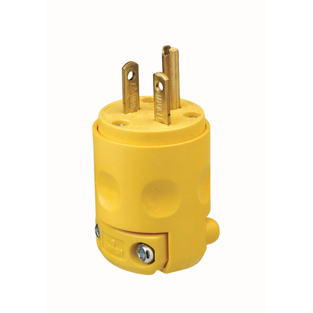 Leviton 20 Amp 250-Volt Grounding Plug, Yellow-620PV - The Home Depot