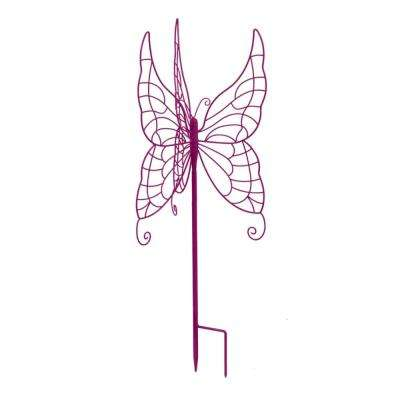 28 in. Purple Butterfly Gazing Ball Stand