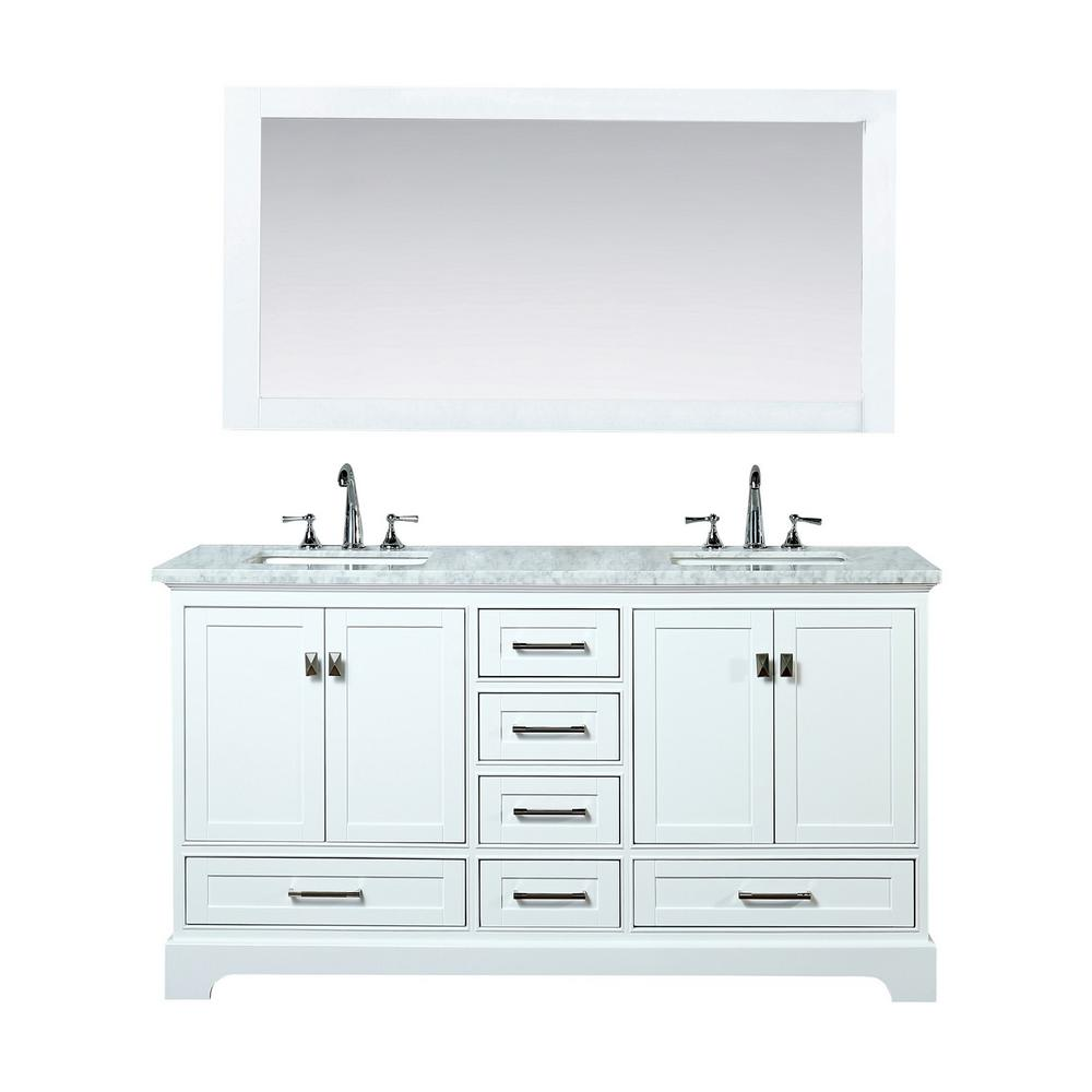 stufurhome Newport 72 in. W x 22 in. D Vanity in White with Marble ...