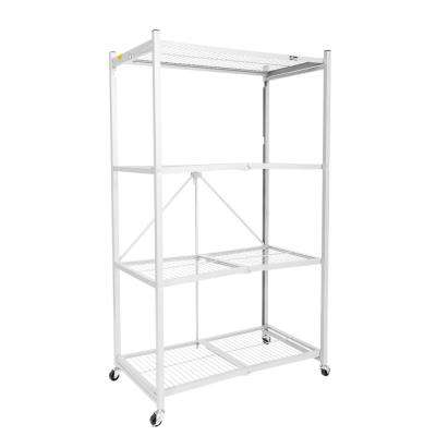 21 in. x 36 in. 60 in. Wheeled 4-Shelf Folding Steel Wire Shelving White