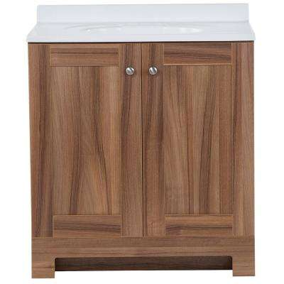 31 in. W x 19 in. D x 35.83 in. H Vanity in Caramel Mist with Cultured Marble Vanity Top in White with White Sink