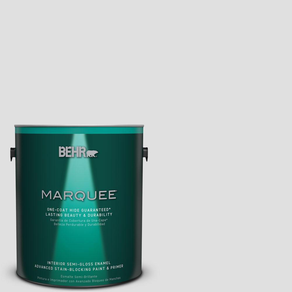 BEHR MARQUEE 1 gal. #MQ3-55 White Lie One-Coat Hide Semi-Gloss Enamel Interior Paint