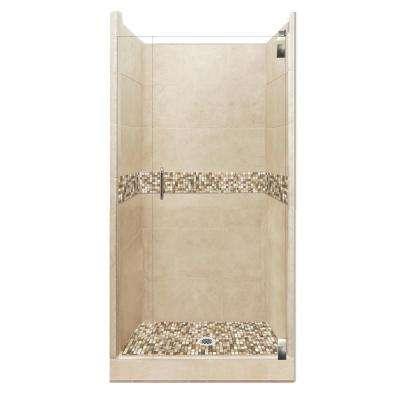 Roma Grand Hinged 38 in. x 38 in. x 80 in. Center Drain Alcove Shower Kit in Brown Sugar and Satin Nickel Hardware