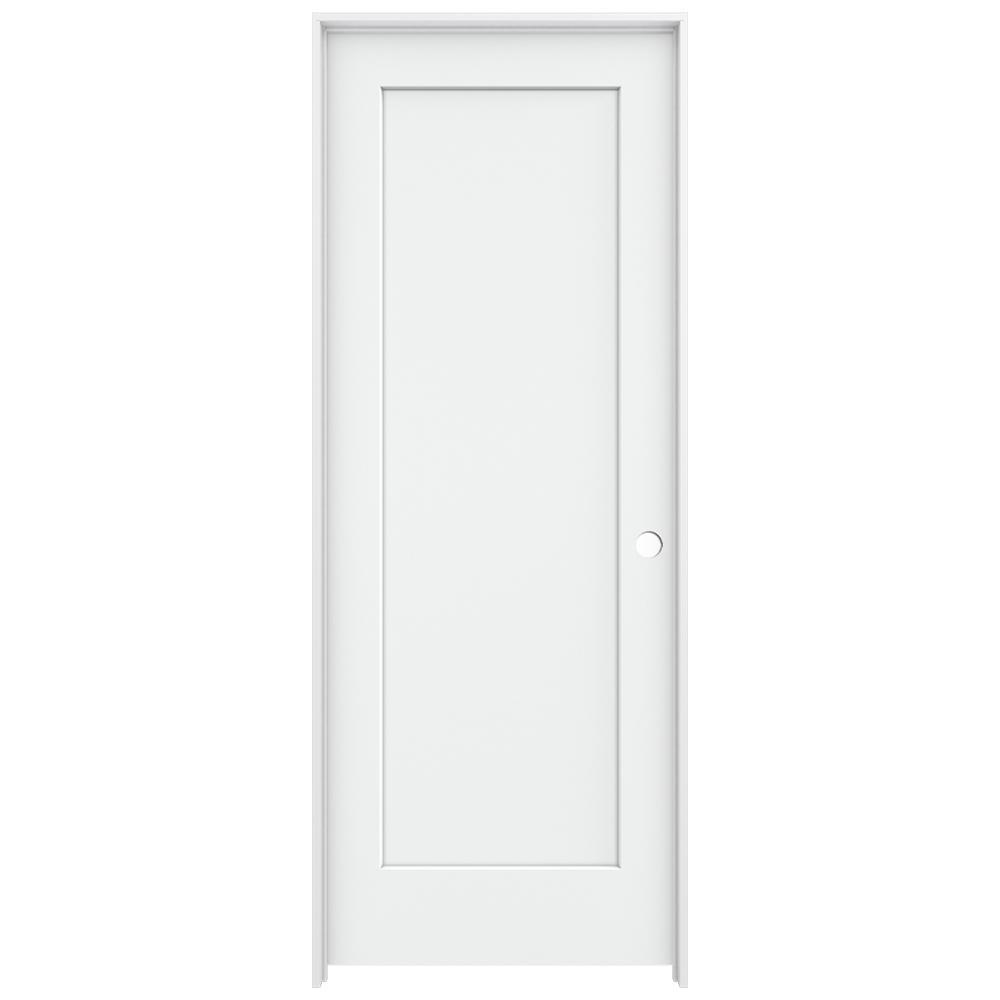 jeld wen 32 in x 80 in madison white painted left hand smooth solid core molded composite mdf