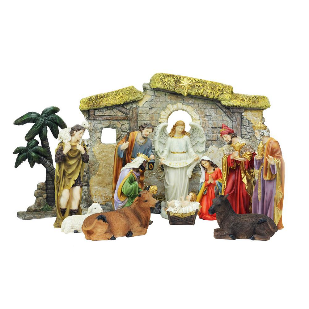 13-Piece Multi-Color Traditional Religious Christmas Nativity Set with Stable