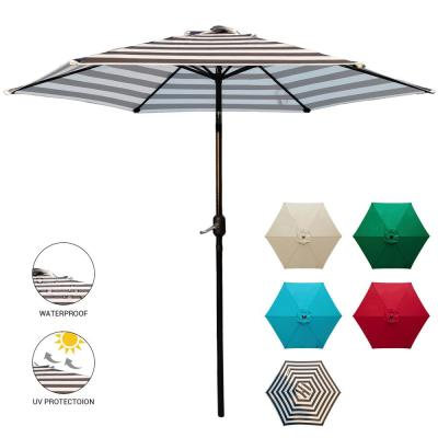 9 ft. Market Patio Umbrella Table with Push Button Tilt and Crank in Black and White