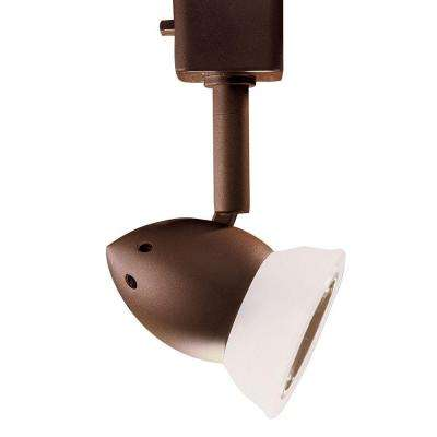 Series 3 Line-Voltage GU-10 Oil-Rubbed Bronze Track Lighting Fixture with Faux Alabaster Glass Shade