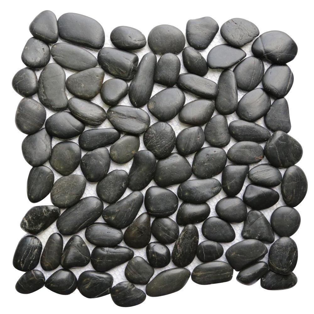 Black 12 in. x 12 in. Natural Pebble Stone Floor and