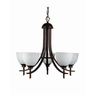 5-Light Oil-Rubbed Bronze Chandelier with Etched Dove White Glass Shade