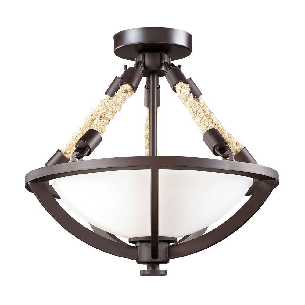 Titan Lighting Natural Rope 2 Light Aged Bronze Ceiling Semi Flush Mount Light