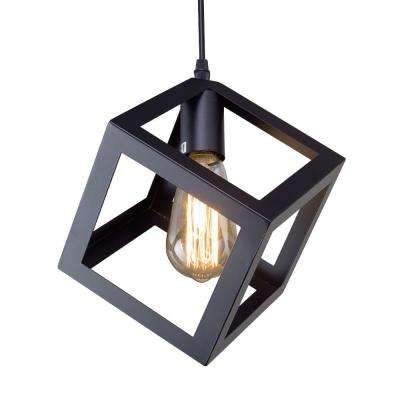 1-Light Black Square Ceiling Hanging Pendant