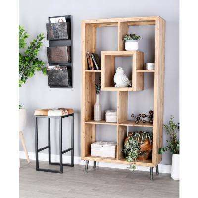 Natural Brown Open Design Wooden Shelf
