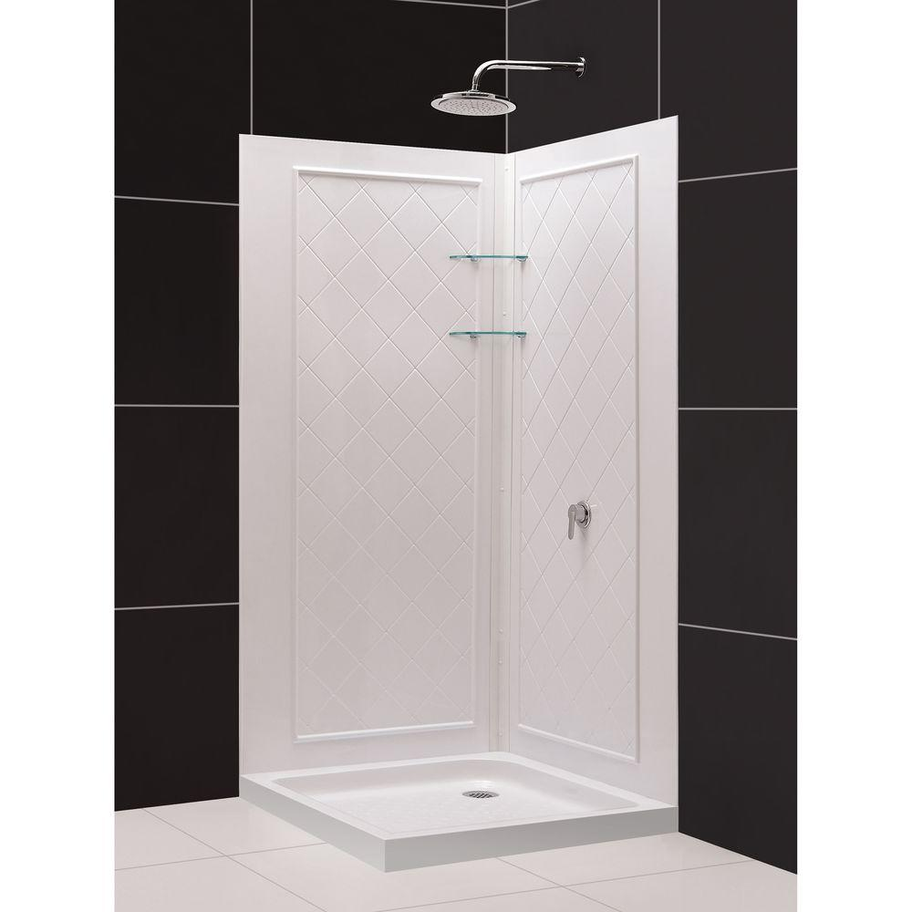 DreamLine QWALL-4 32 in. x 32 in. x 76-3/4 in. Standard Fit Shower Kit in White with Shower Base and Back Wall