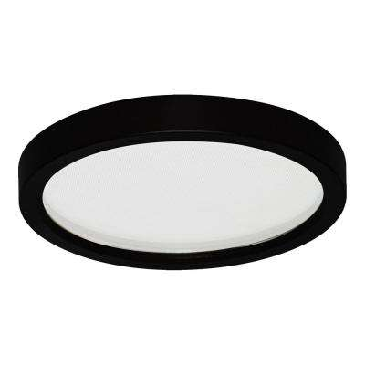 Round Slim Disk Length 5.5 in. Black New Construction Recessed Integrated LED Trim Kit Fixture 3000K Warm White