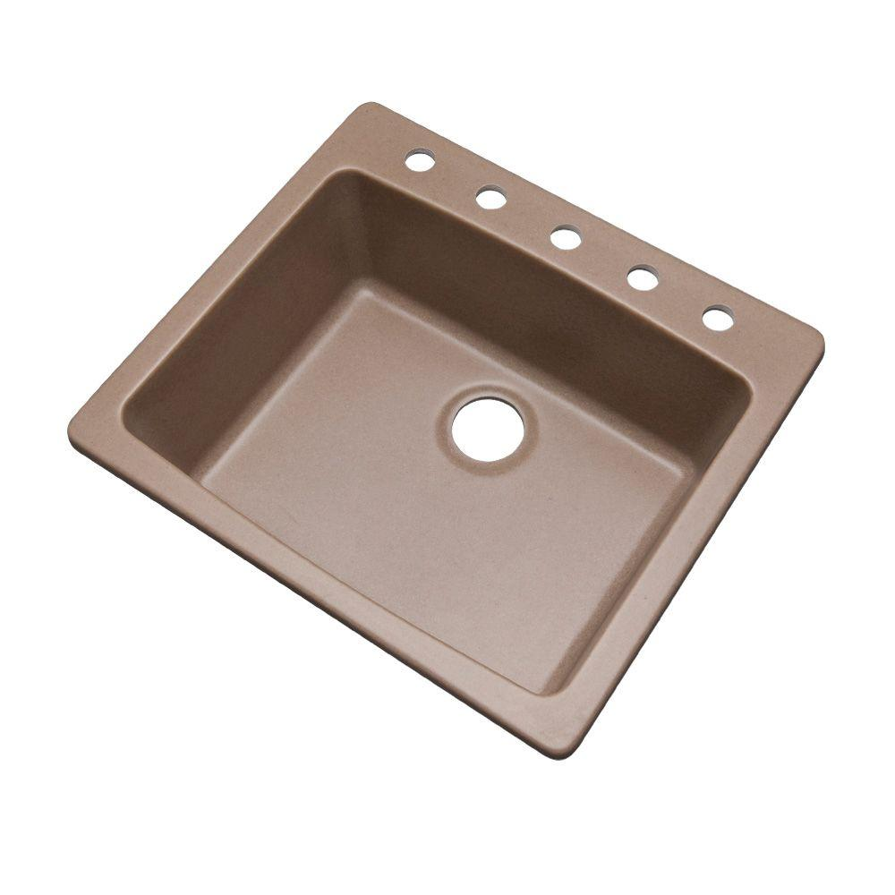 Mont Blanc Northbrook Dual Mount Composite Granite 25 in. 5-Hole Single Basin Kitchen Sink in Natural