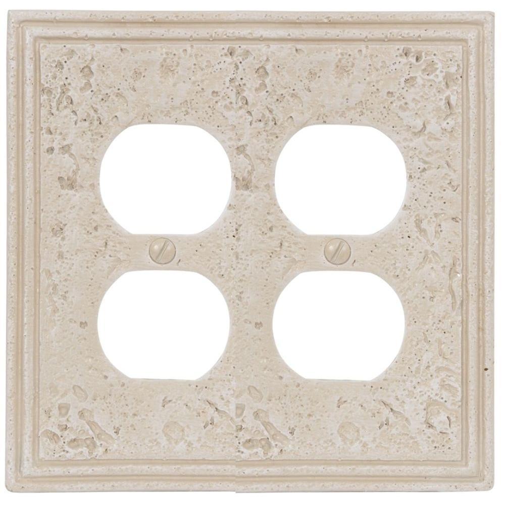 Amerelle Texture Stone 2 Duplex Wall Plate - Almond