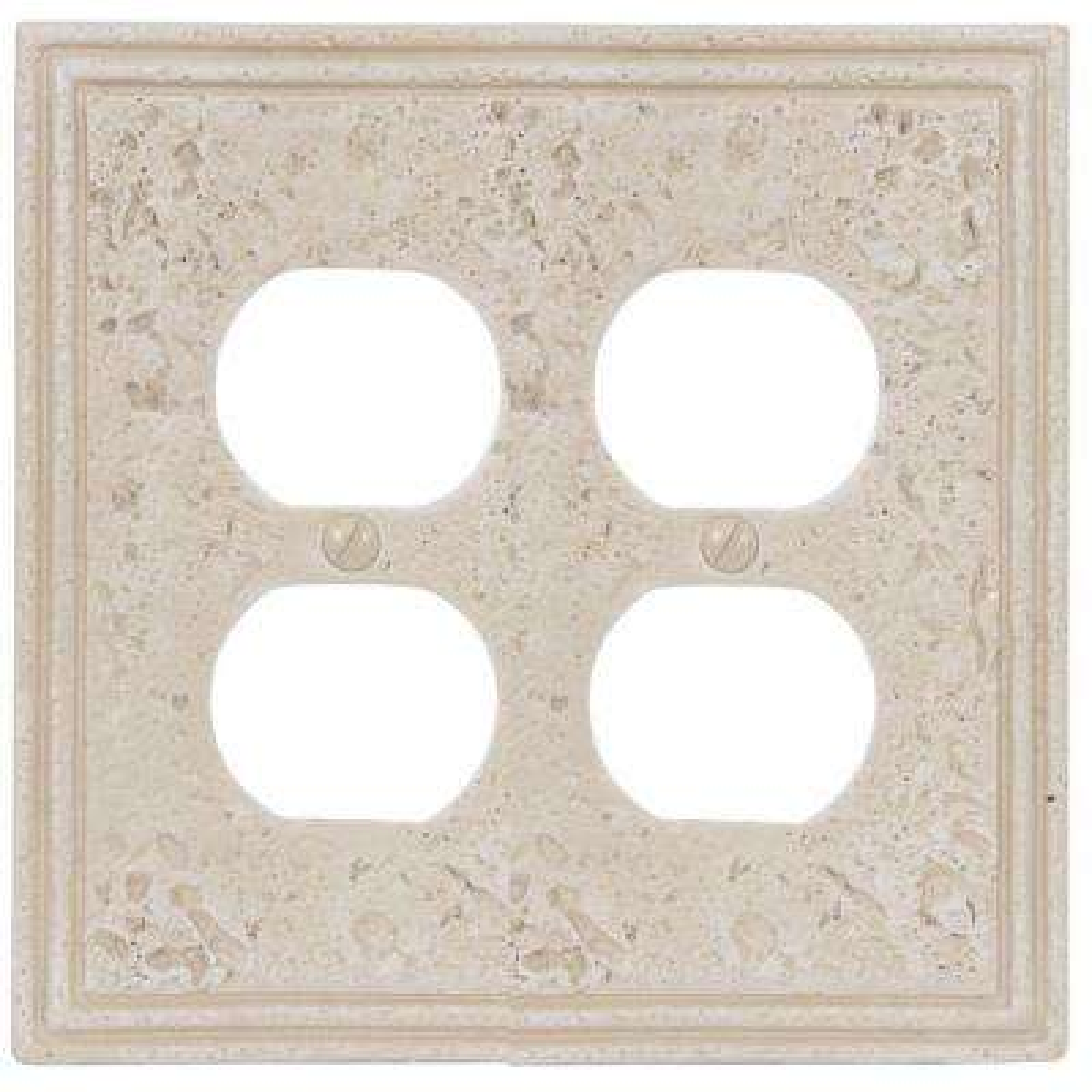 Texture Stone 2 Duplex Wall Plate - Almond
