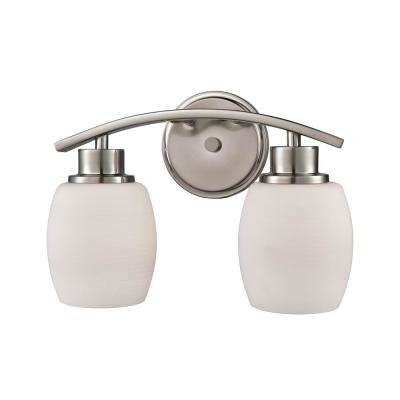 Casual Mission 2-Light Brushed Nickel with White Lined Glass Bath Light