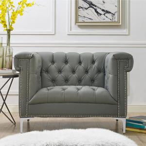 Admirable Inspired Home Ramona Pu Leather Club Arm Chair Grey Silver Theyellowbook Wood Chair Design Ideas Theyellowbookinfo