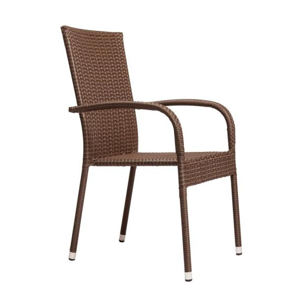 Patio Sense Morgan Stacking Resin Wicker Outdoor Dining Chair In Mocha 4 Pack 62664 The Home Depot