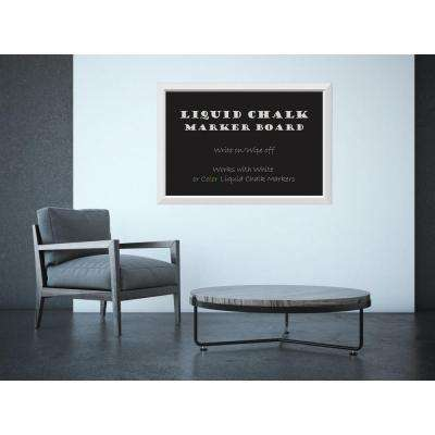 Blanco White Wood 39 in. W x 27 in. H Framed Liquid Chalk Marker Board