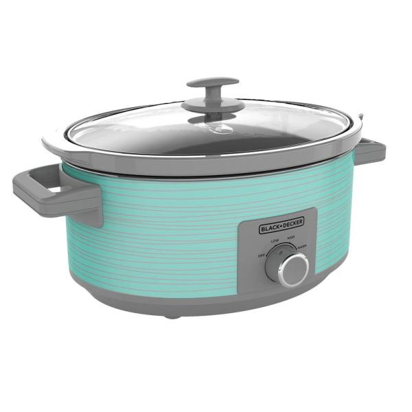 BLACK+DECKER - 7 Qt. Teal Slow Cooker with Recipe Book and 3 Heat Settings