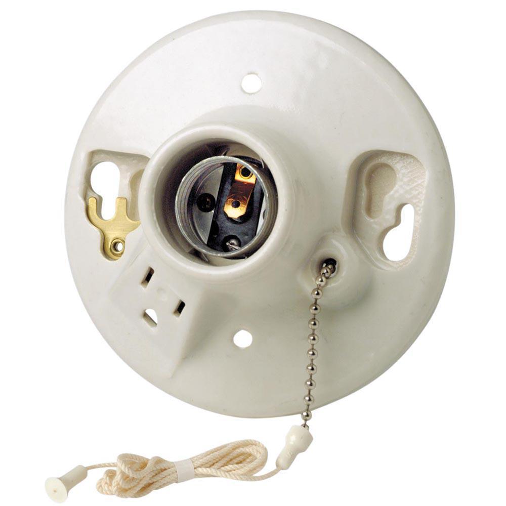 660W Medium Base One-Piece Single Circuit Outlet Box Mount Glazed Porcelain Incandescent Lampholder, White
