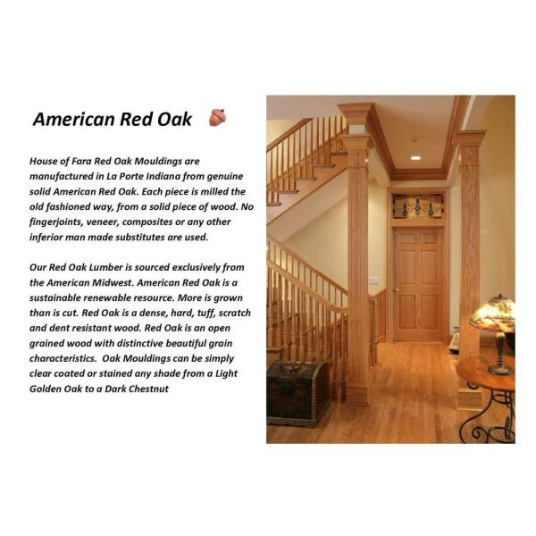 House Of Fara 3 4 In X 2 5 8 In X 8 Ft Oak Chair Rail Moulding 9000 The Home Depot