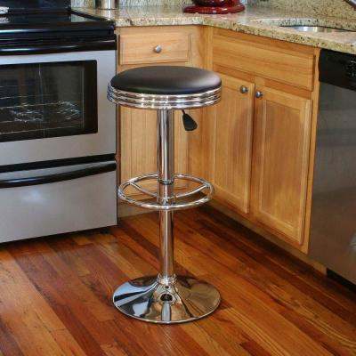 Adjustable Height Chrome Swivel Cushioned Bar Stool