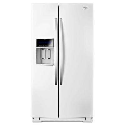 36 in. W 19.9 cu. ft. Side by Side Refrigerator in White Ice, Counter Depth
