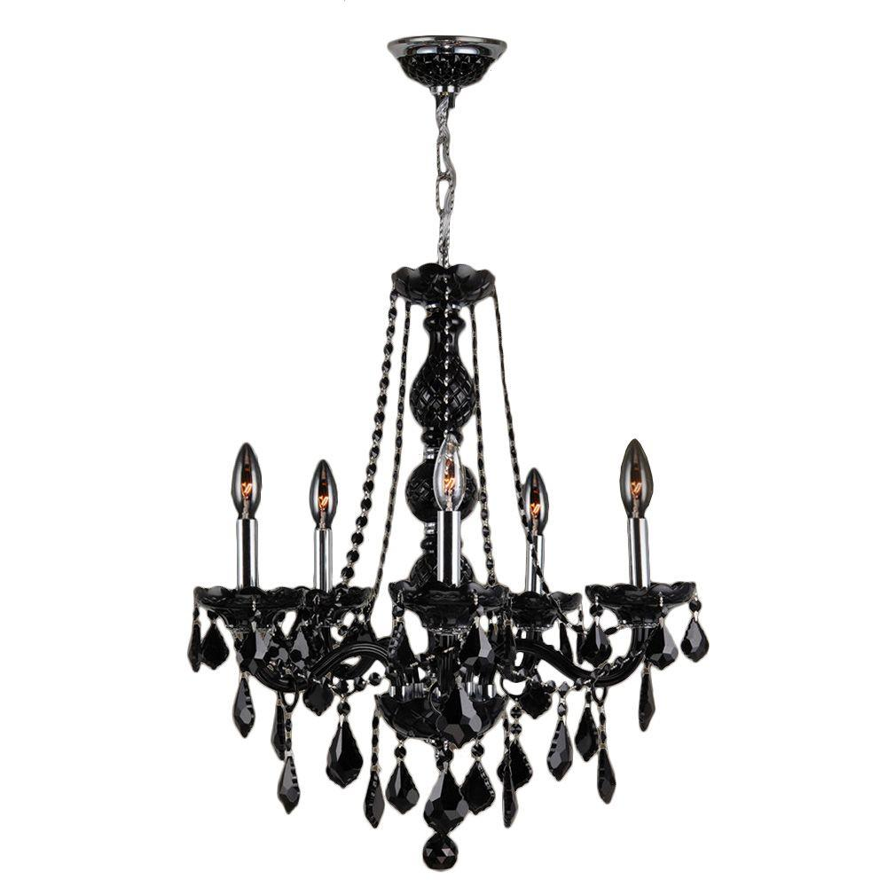 Worldwide Lighting Provence Collection 5 Light Chrome And Black Crystal Chandelier