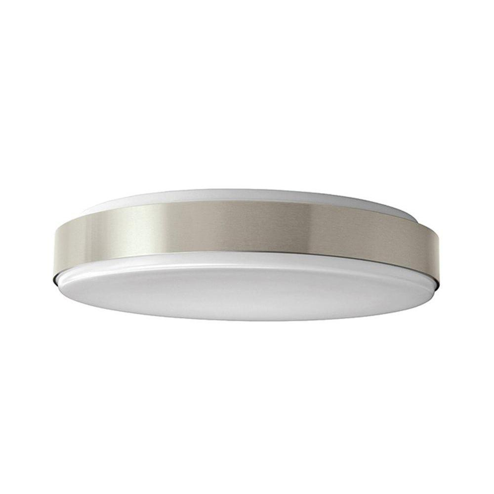 Ceiling Lights At Home Depot: Hampton Bay 15 In. Brushed Nickel LED Round Ceiling Flush