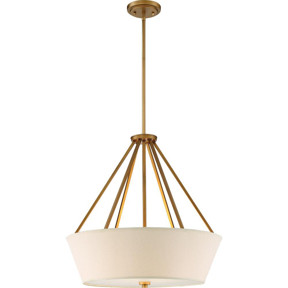4-Light Natural Brass Pendant