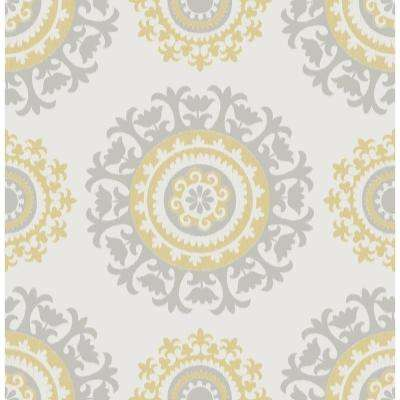 30.75 sq. ft. Grey and Yellow Suzani Peel and Stick Wallpaper