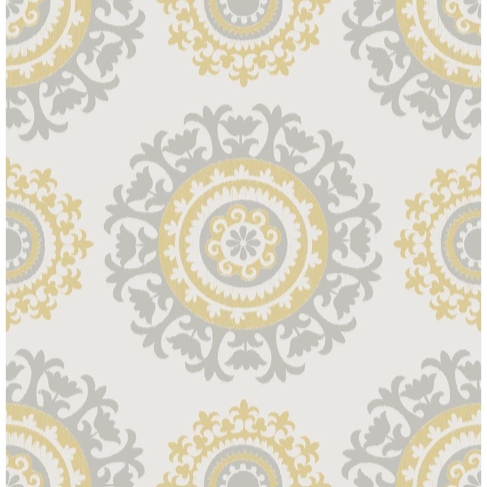 Nuwallpaper Grey And Yellow Suzani L Stick Wallpaper Sample