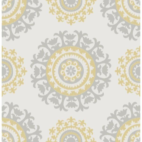 Grey and Yellow Suzani Vinyl Strippable Wallpaper (Covers 30.75 sq. ft.)