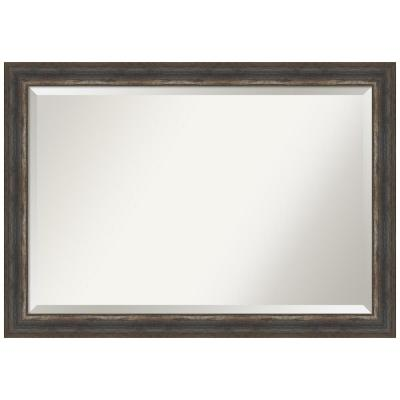 Medium Rectangle Alta Rustic Char Beveled Glass Classic Mirror (28.5 in. H x 40.5 in. W)